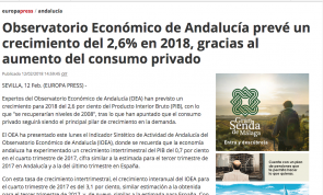 prevé un crecimiento del 2,6% en 2018, gracias al aumento del consumo privado