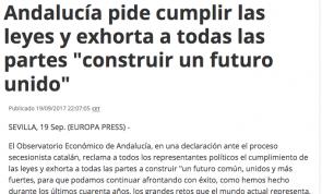 """Observatorio Económico de Andalucía pide cumplir las leyes y exhorta a todas las partes """"construir un futuro unido"""""""