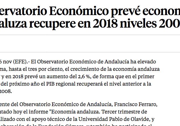 Observatorio Económico prevé economía andaluza recupere en 2018 niveles 2008
